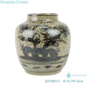 RZTB04-C Blue and white archaic pine grain small pot