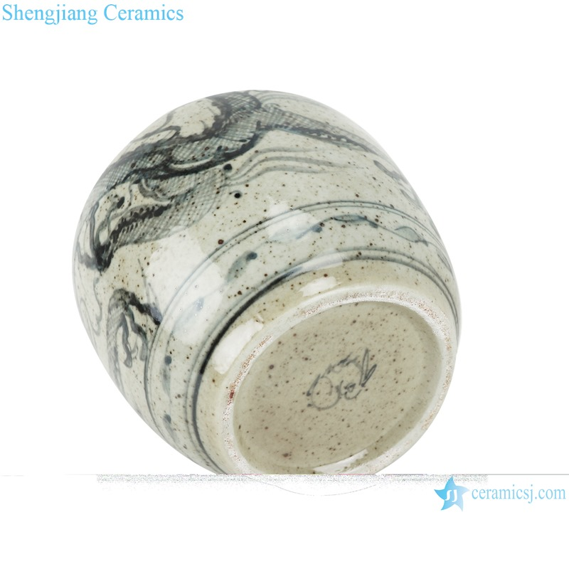 RZTB04-D Blue and white archaic pine grain small pot