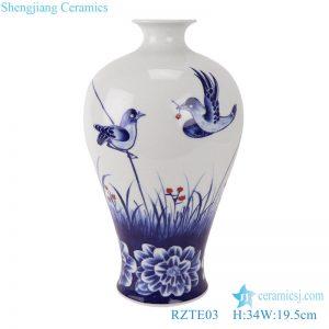 RZTE03 Blue and white glaze red bird peony pattern plum vase