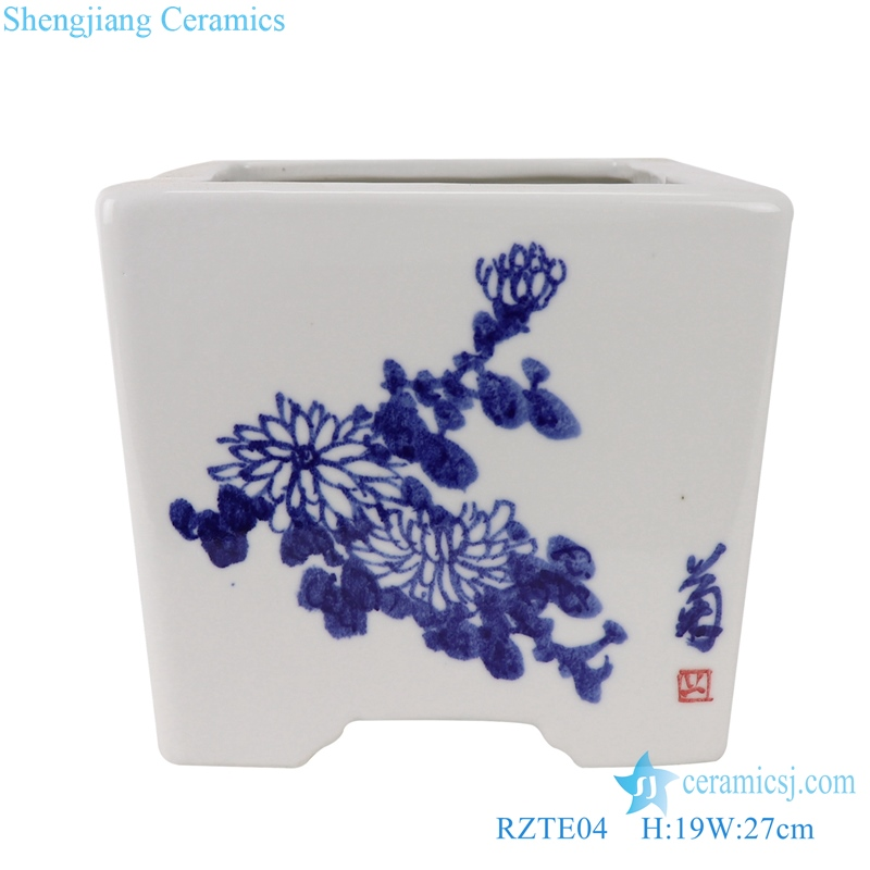 RZTE04 Blue and white flowerpot of plum, orchid, bamboo and chrysanthemum pattern
