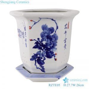 RZTE05 Blue and white peony pattern hexagonal flower pot with base