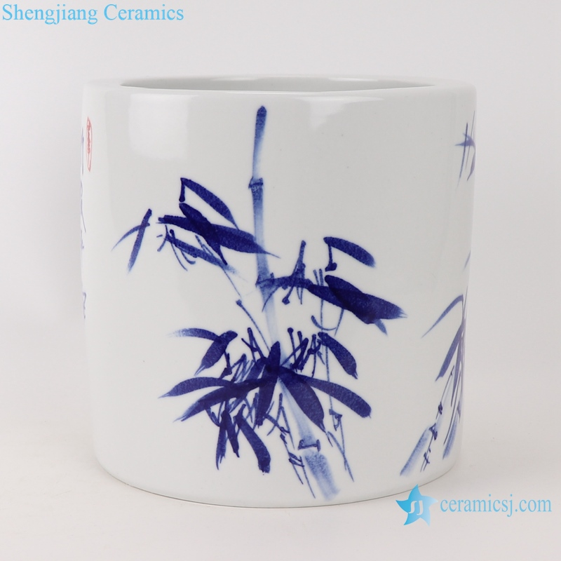 RZTE06-B Blue and white bamboo design pen holder