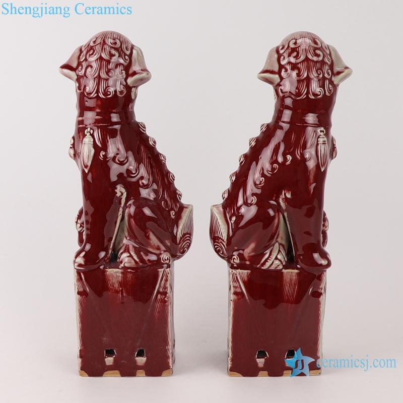 RZTF01 Color glaze red ceramic squat poodle pair