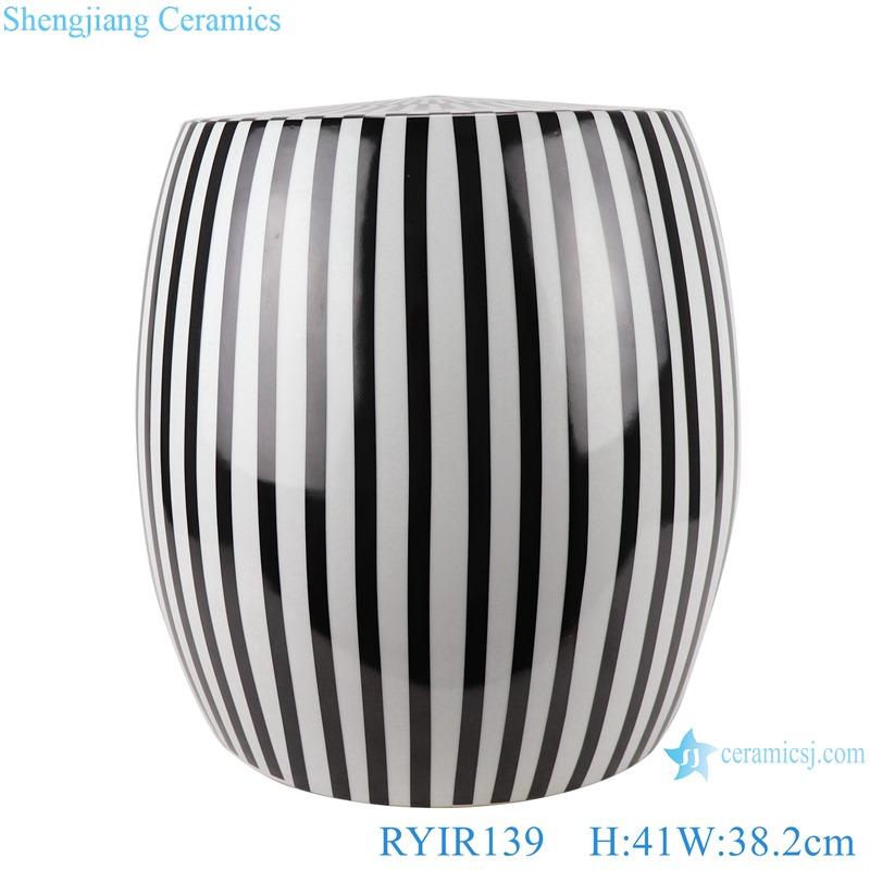 RYIR139 Modern Black and white striped porcelain seat Drum stool