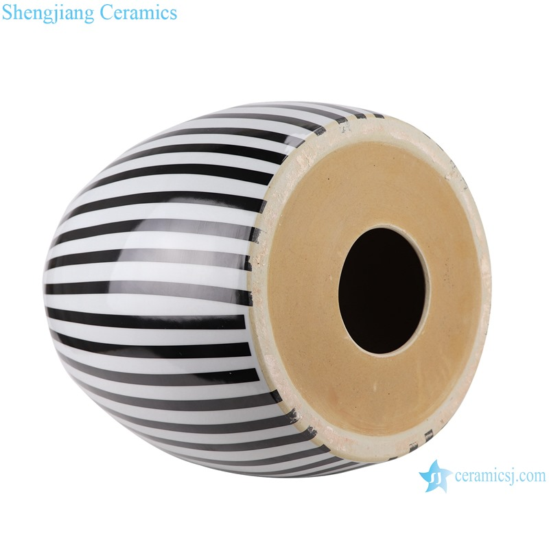 RYIR139 Modern Black and white striped glazed porcelain Home garden seat Drum stool for home hotel mall