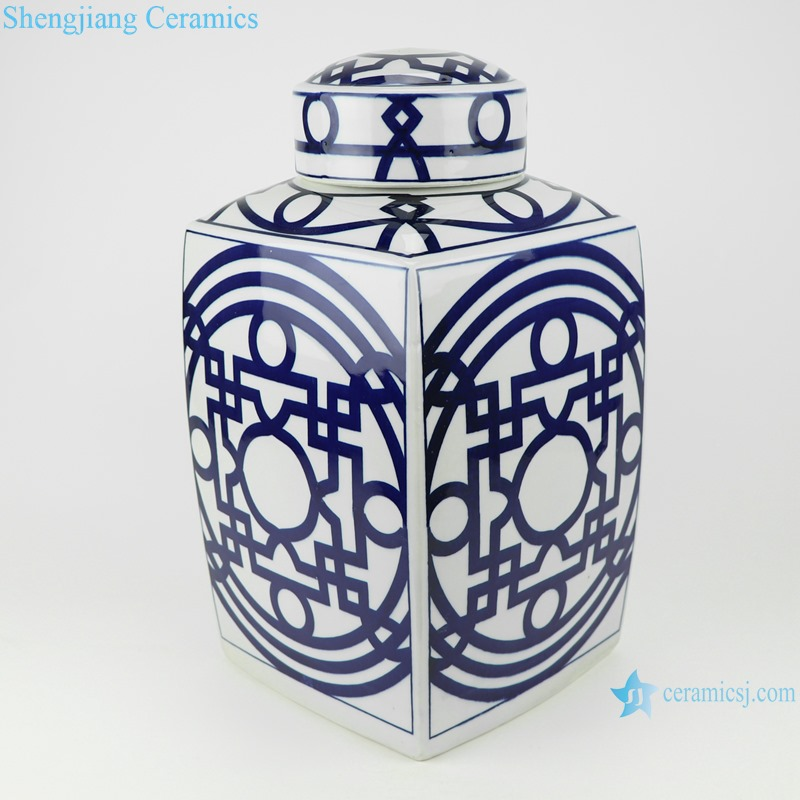 Blue and white square pot with simple design