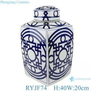 RYJF74 Blue and white square pot with simple design