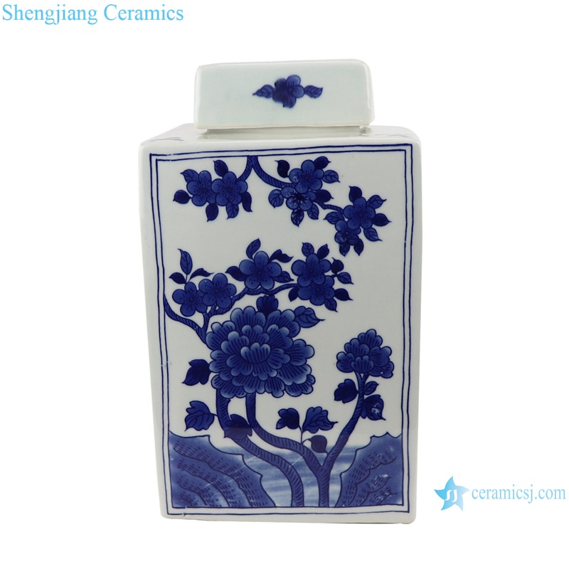 Blue&white flowers and birds landscape pattern square pot tea canister