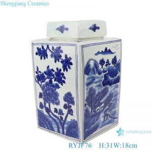RYJF76 Blue&white flowers and birds landscape pattern square pot tea canister
