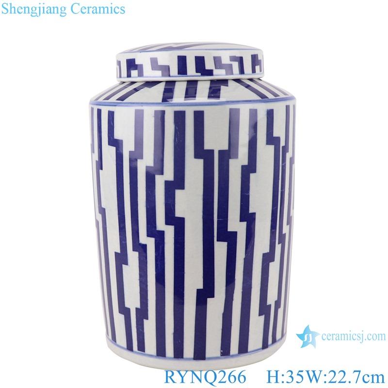 RYNQ266 Blue and white porcelain Geometric Line Pattern Round Tube storage Ceramic jars tea canister