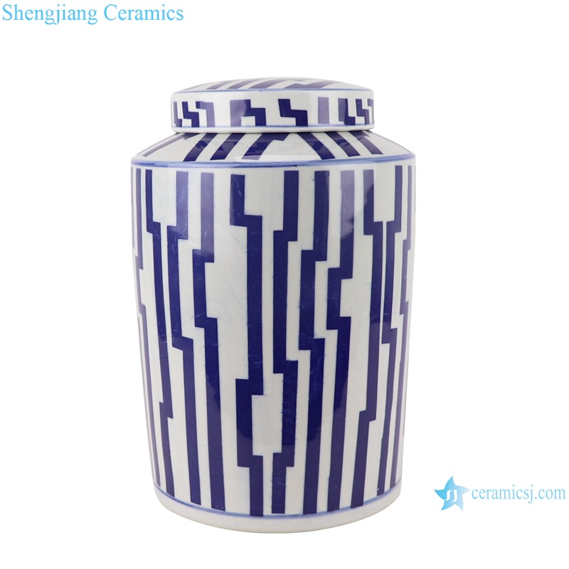 RYNQ266 Blue and white Geometric Line Pattern Round Tube storage Ceramic jars tea canister candy Box with lid