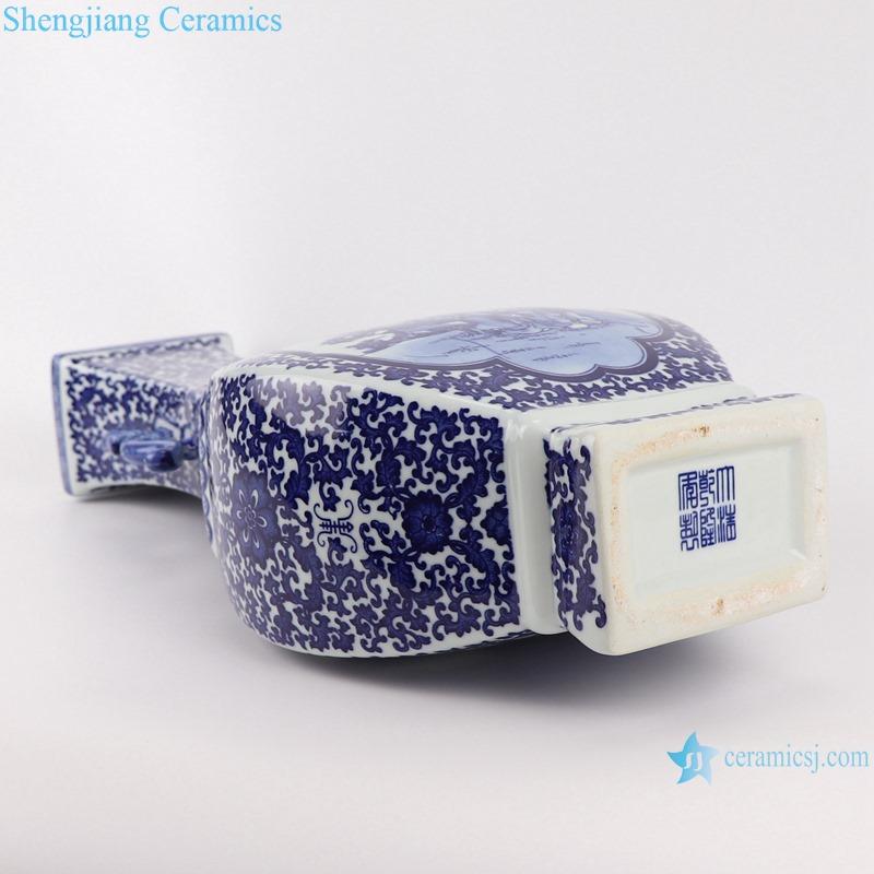RYUJ33 Jingdezhen Celadon winding leaf Portrait design with Two ears Square shape Ceramic Vase