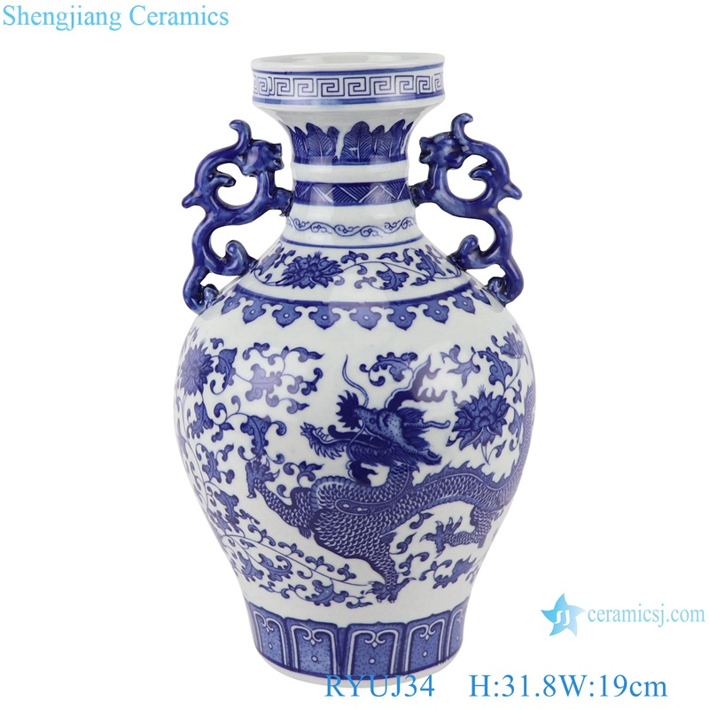 RYUJ34 Antique blue and white porcelain Dragon Painted Two ears Ceramic Vase