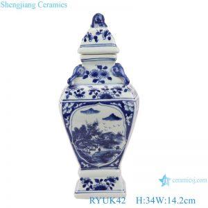 RYUK42 Blue and white ceramic landscape pattern small general pot