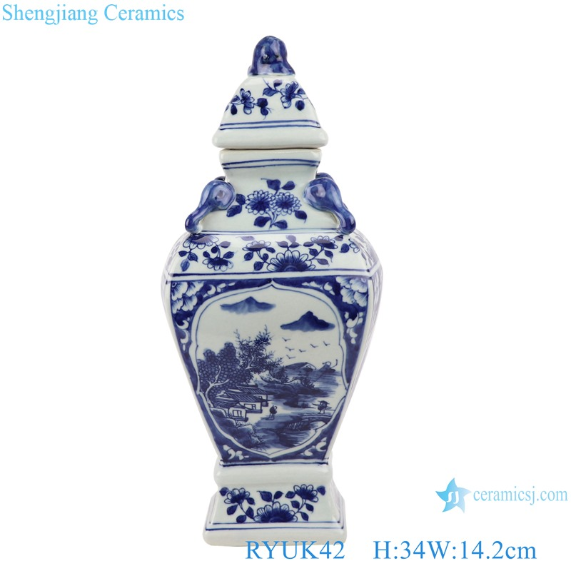 Blue and white ceramic landscape pattern small general pot