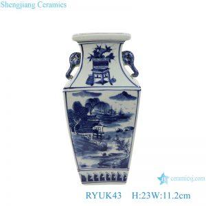 RYUK43 Blue and white landscape square amphora porcelain vases