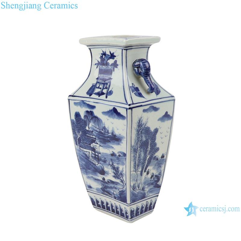 Blue and white landscape square amphora porcelain vases