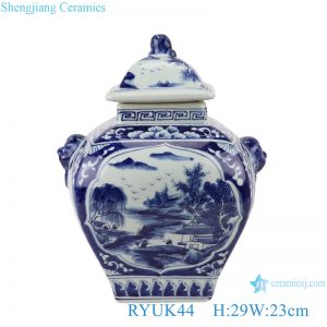 RYUK44 Blue&white landscape pattern with lion head lid pot belly general pots