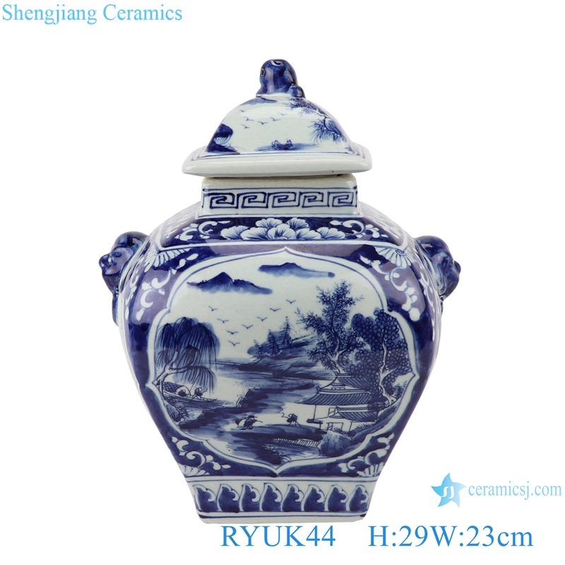Blue&white landscape pattern with lion head lid pot belly general pots