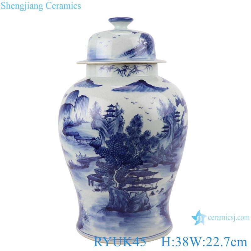RYUK45 Jingdezhen Antique Blue and white porcelain Landscape pattern storage ginger jars pot
