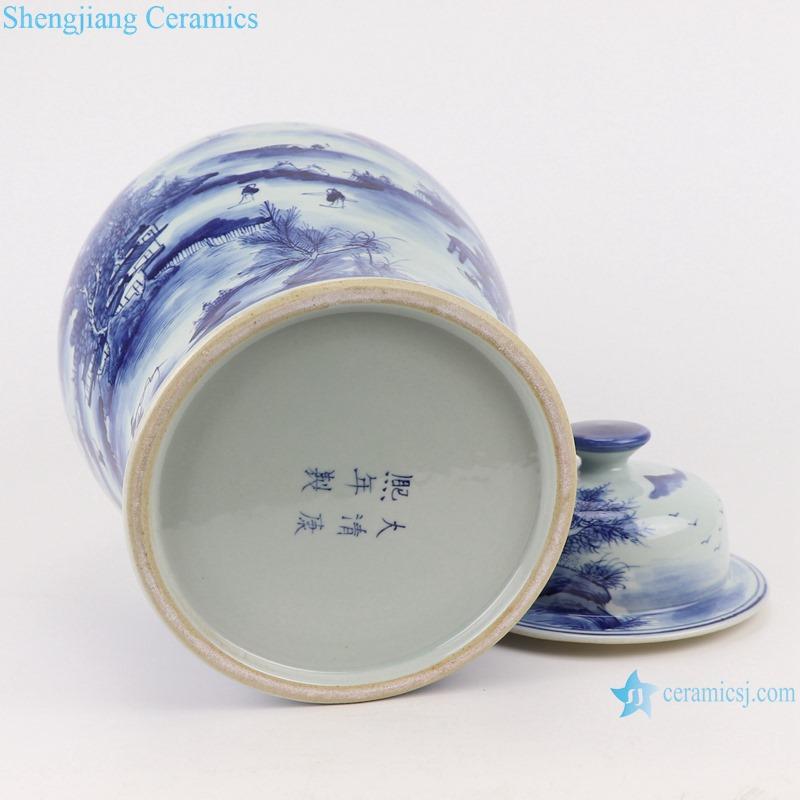 RYUK45 Jingdezhen Antique Blue and white porcelain Landscape pine pattern storage ginger jars Ceramic pot