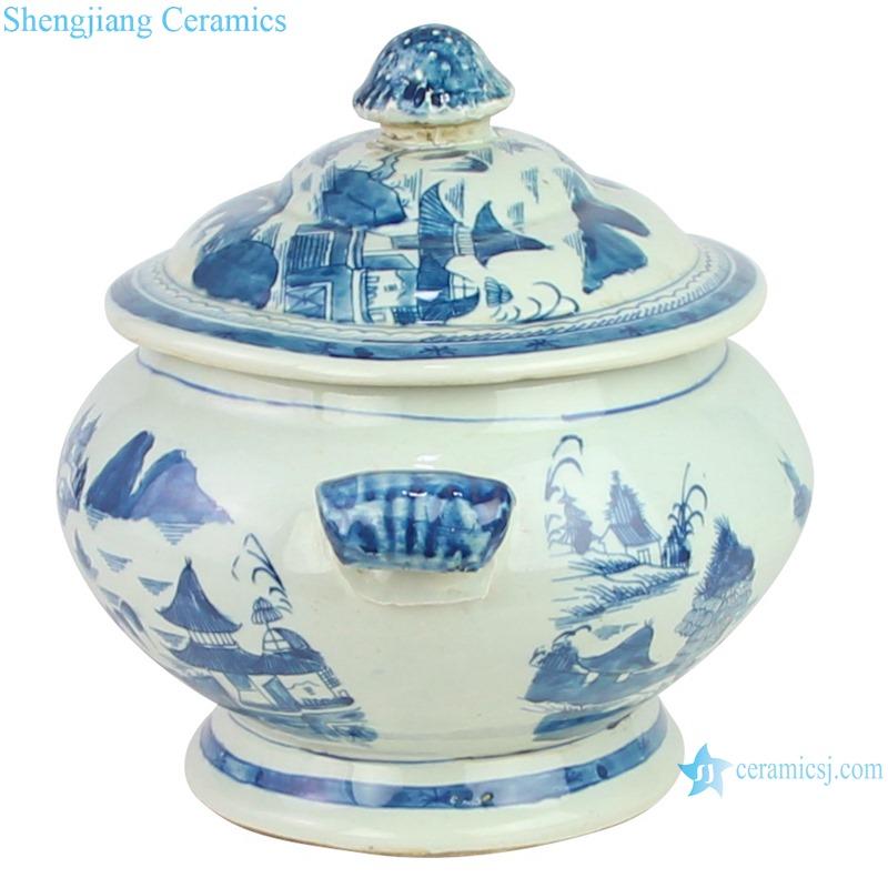 RYVM38 Chinese light green Glazed porcelain Landscape Ship on the river storage Temple jars