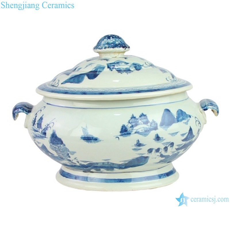 RYVM38 New Arrival Chinese light green Glazed porcelain Landscape Ship on the river storage Temple jars Ceramic pot