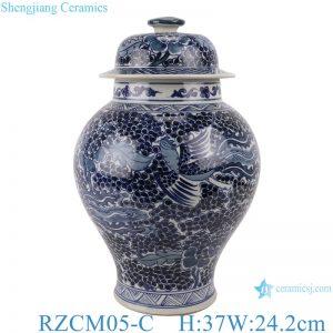 RZCM05-C Blue and white phoenix design porcelain general pot with lid