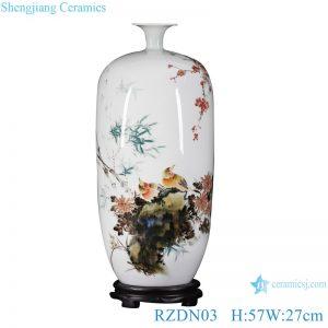 RZDN03 Pastel bamboo pattern peace wax gourd porcelain vase