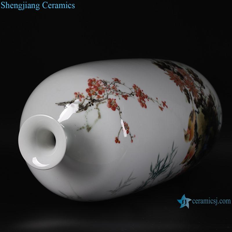Pastel bamboo pattern peace wax gourd porcelain vase