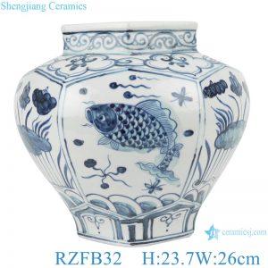 RZFB32 Albacore fish algae lotus pattern six side porelain pots