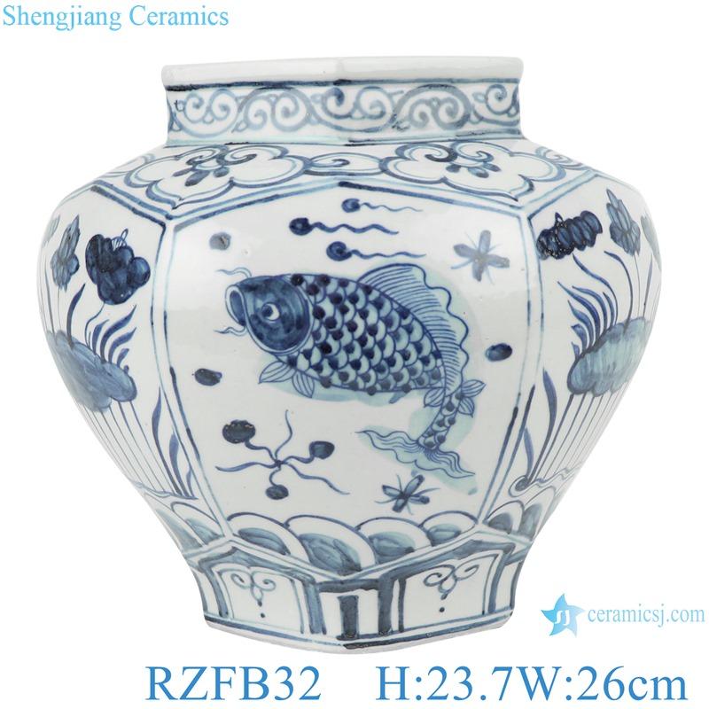 Albacore fish algae lotus pattern six side porelain pots