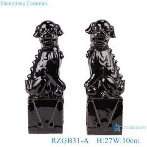 RZGB31-A Color glazed black poodle pair porcelain decoration