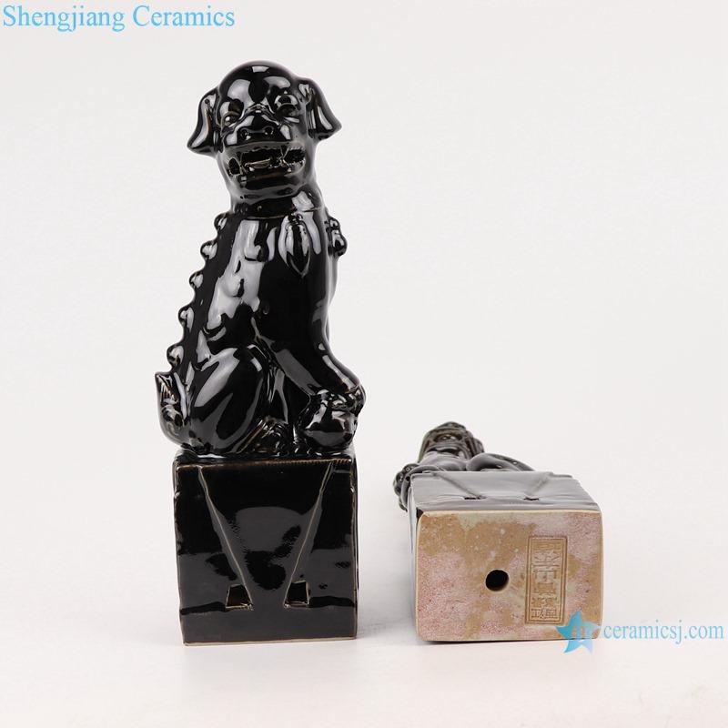 Color glazed black poodle pair porcelain decoration