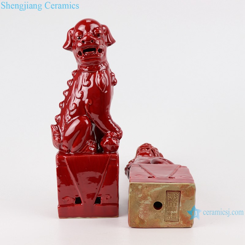 Color glazed red poodle pair porcelain decoration