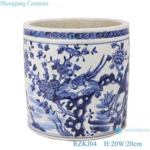 RZKJ04 Blue and white porcelain pen holder flower pattern