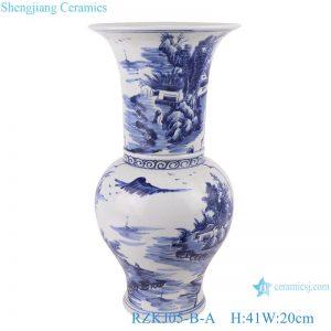 RZKJ05-B-A Blue and white landscape design vases decoration display