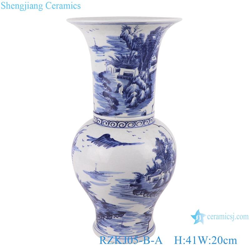 Blue and white landscape design vases decoration display