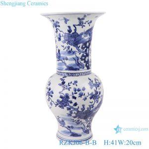 RZKJ06-B-B Blue and white flower&birds design vases decoration display