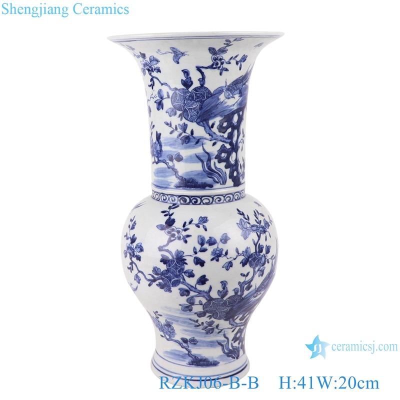 Blue and white flower&birds design vases decoration display