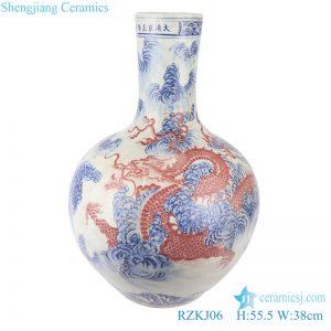 RZKJ06 Blue and white dragon design vases decoration display