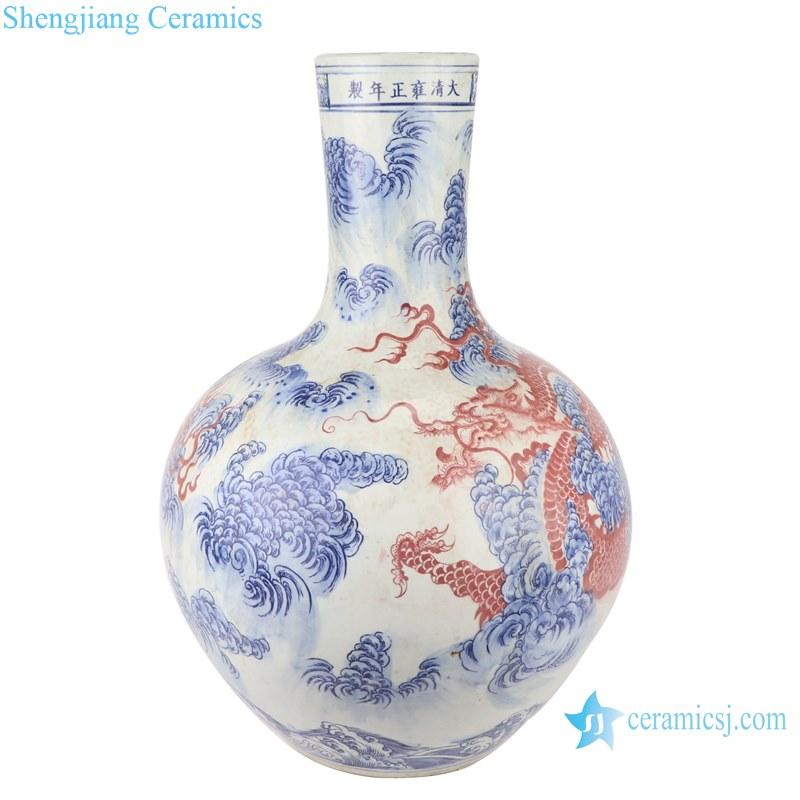 Blue and white dragon design vases decoration display