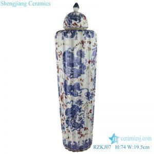 RZKJ07 Blue and white dragon design ceramic pot decorative pot with lid