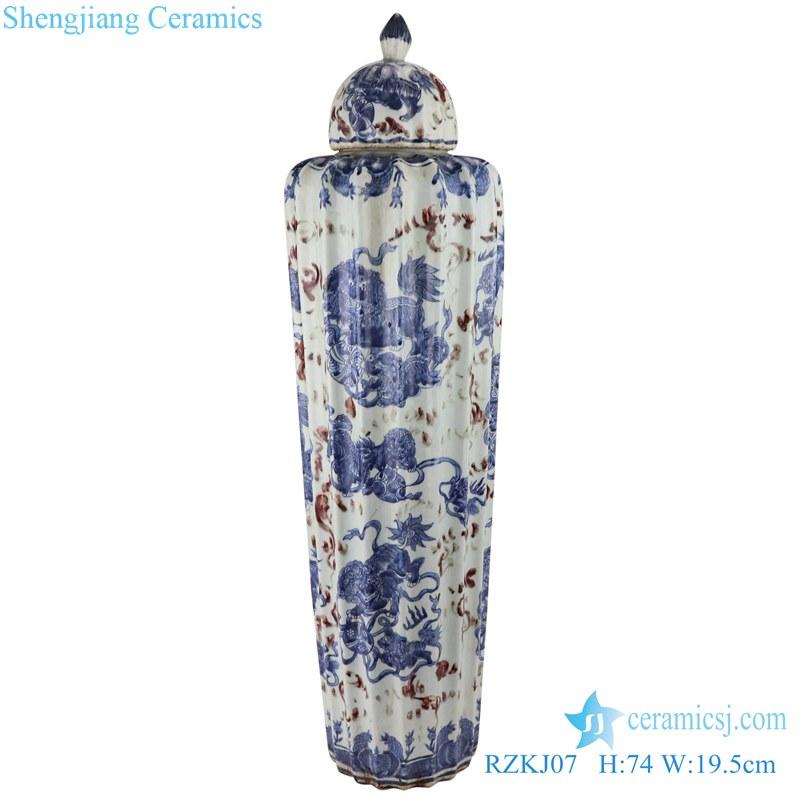 Blue and white dragon design ceramic pot