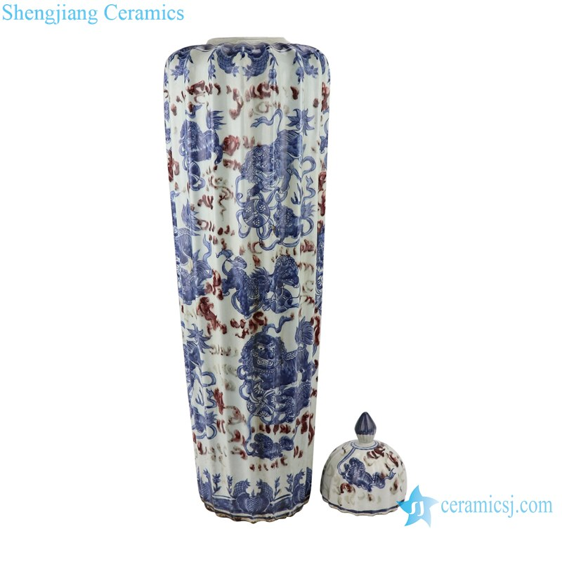 Blue and white dragon design ceramic pot with lid