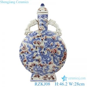 RZKJ08 Blue and white Chinese style antique court wine pot with lid