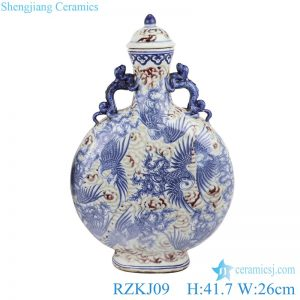 RZKJ09 Blue and white handmade Chinese style antique court wine pot