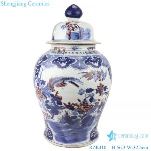 RZKJ10 Blue and white handmade general pot of flowers and birds design