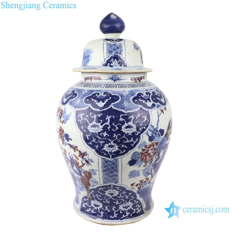 Blue and white handmade general pot of flowers and birds design