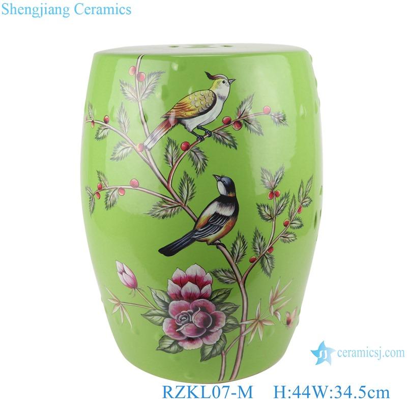 Color glaze green peony flowers and birds porcelain stool